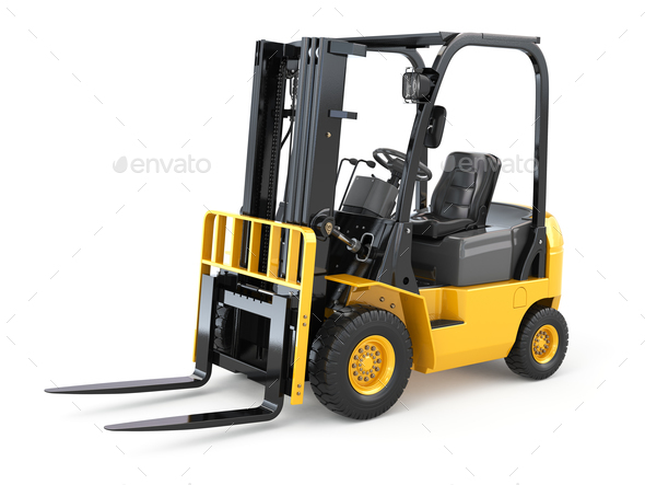 Forklift truck on white isolated background. - Stock Photo - Images