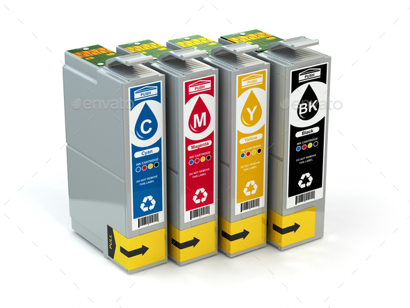 Cartridges for colour inkjet printer. CMYK. - Stock Photo - Images
