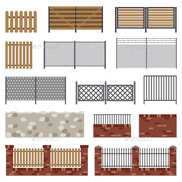 Simple Flat Fences - Decorative Symbols Decorative