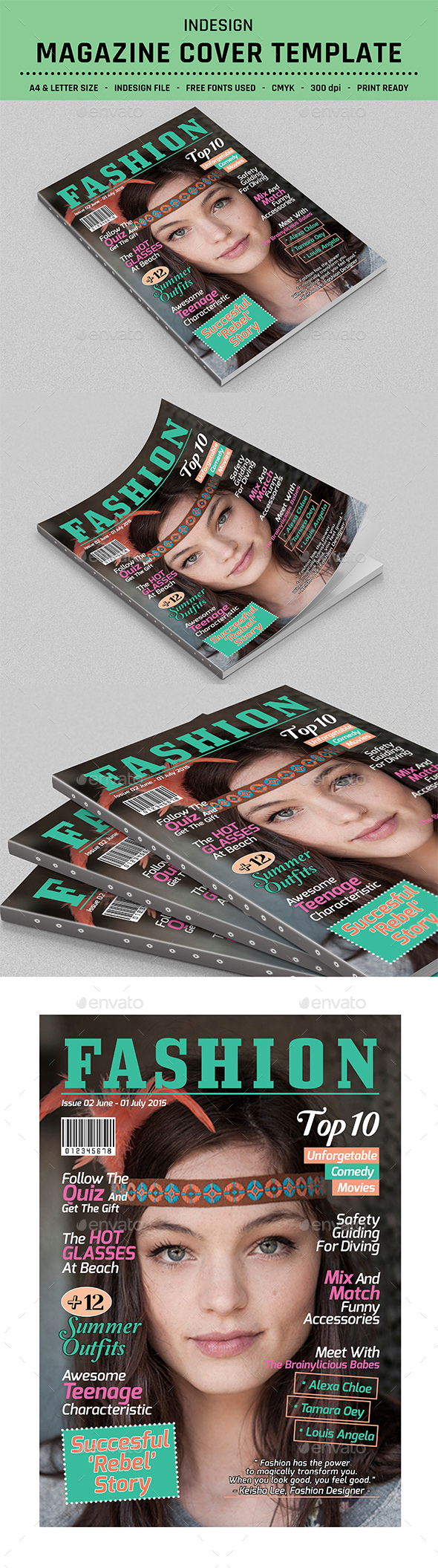 Magazine Cover Template Indesign - Magazines Print Templates