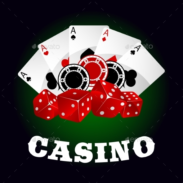 Casino Icon With Dice, Chips And Poker Aces - Objects Vectors