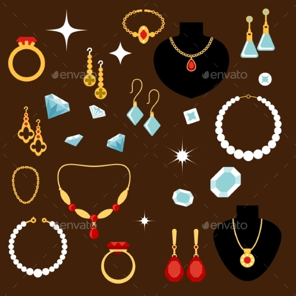 Jewelleries And Gemstones Flat Icons - Objects Vectors