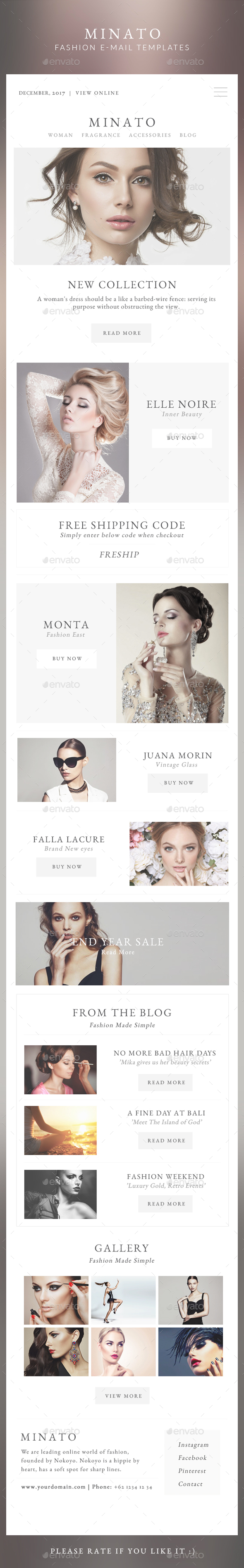 Fashion Email Templates - Minato - E-newsletters Web Elements