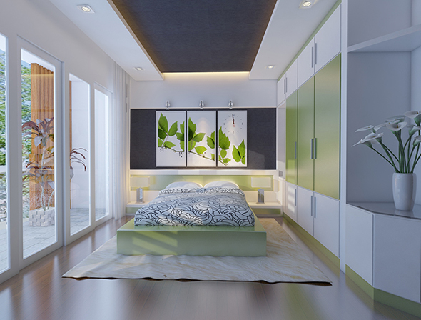 3d model and render of bedroom interior - 3DOcean Item for Sale