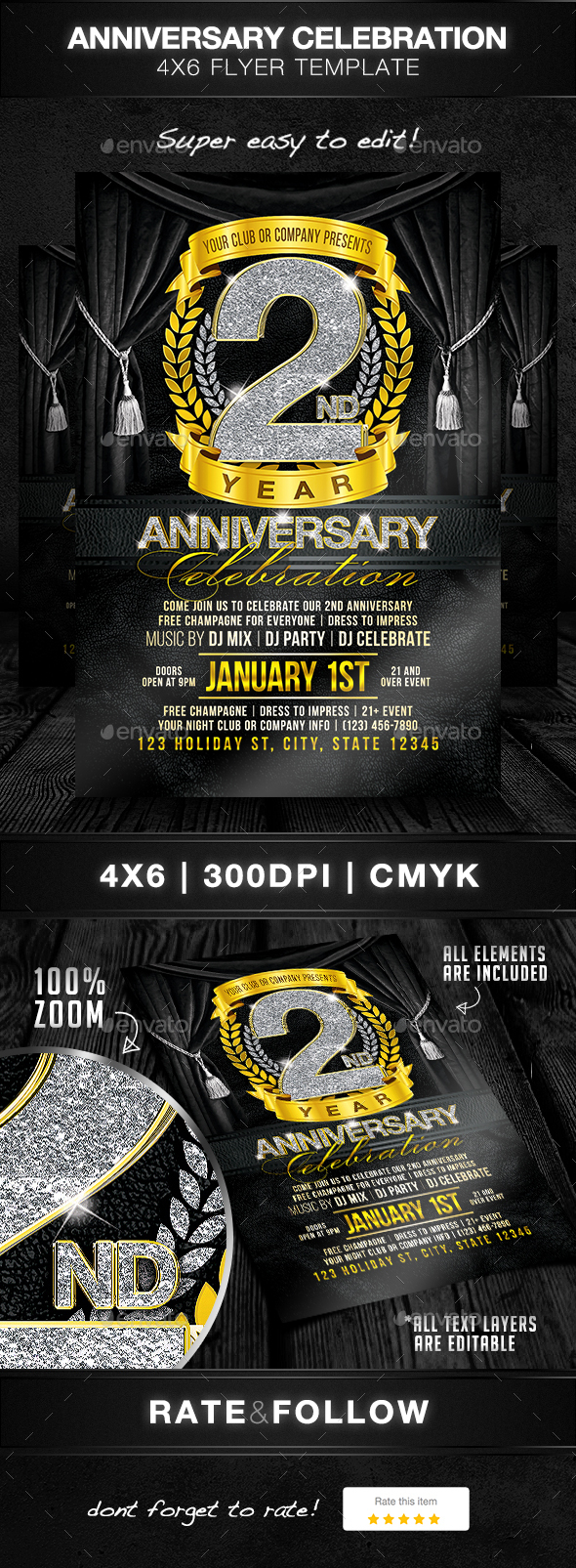 Anniversary Celebration Flyer Template - Clubs & Parties Events