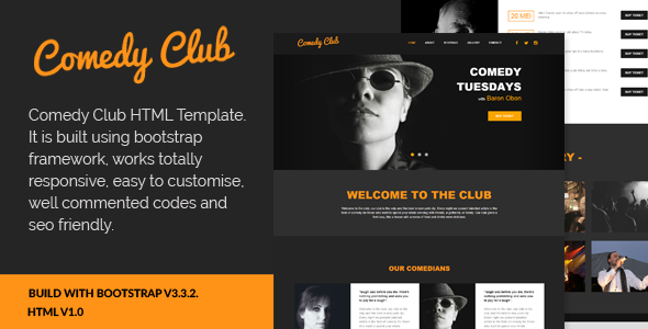 Comedy Club – Entertainment Club HTML Template