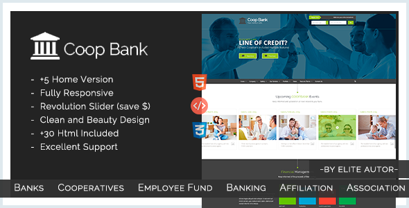 Coopbank banking financial credits template by for Getbootstrap com templates