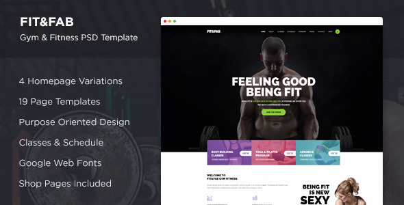 Fit & Fab – Gym and Fitness PSD Template