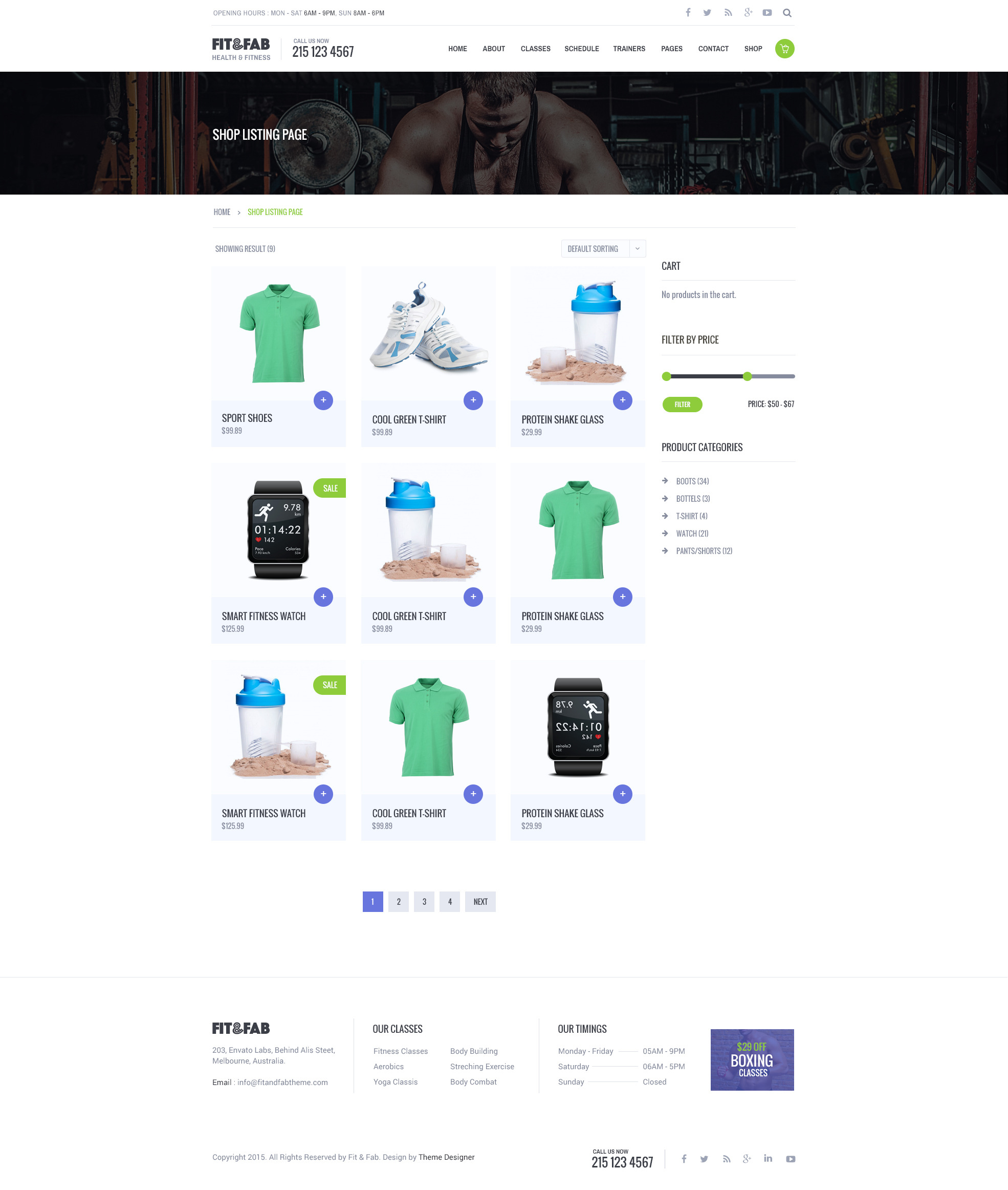 Fab Template: Gym And Fitness PSD Template By Suniljoshi