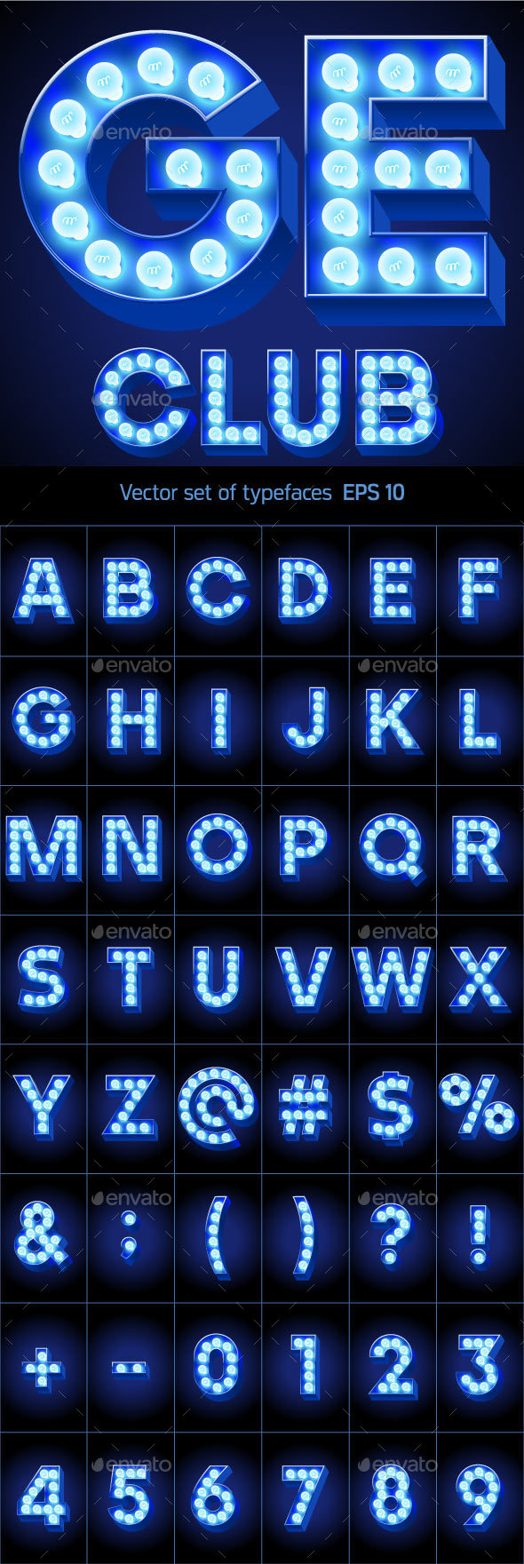 Festive Alphabet with Blue Lamp. - Decorative Symbols Decorative