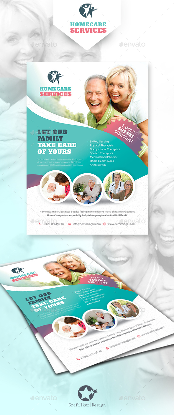Home Care Flyer Templates By Grafilker GraphicRiver - Home care brochure template