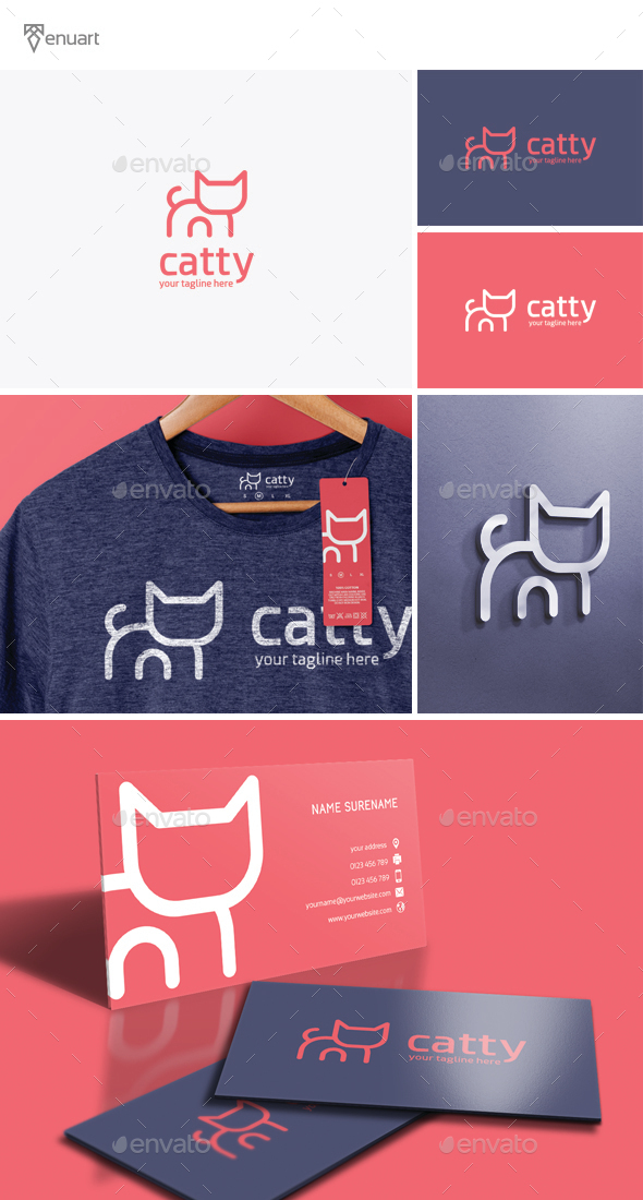 Catty Logo - Animals Logo Templates