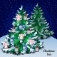 Christmas Winter Snowy Tree With Ornaments Forest