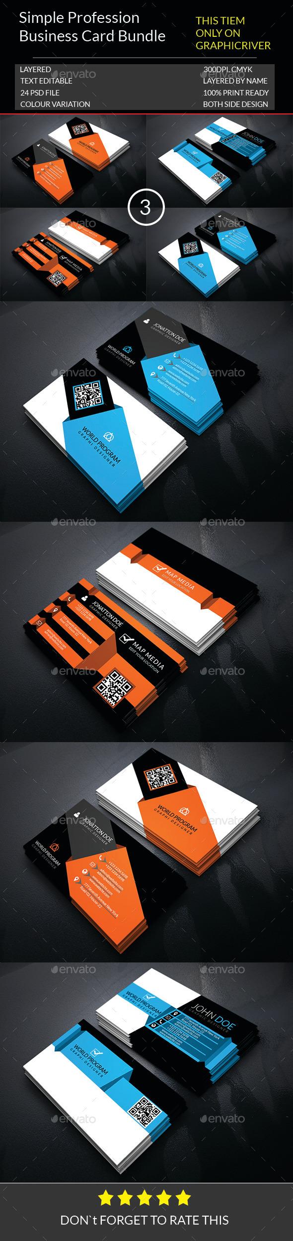 Simple Profession Business card Bundle.003 - Business Cards Print Templates