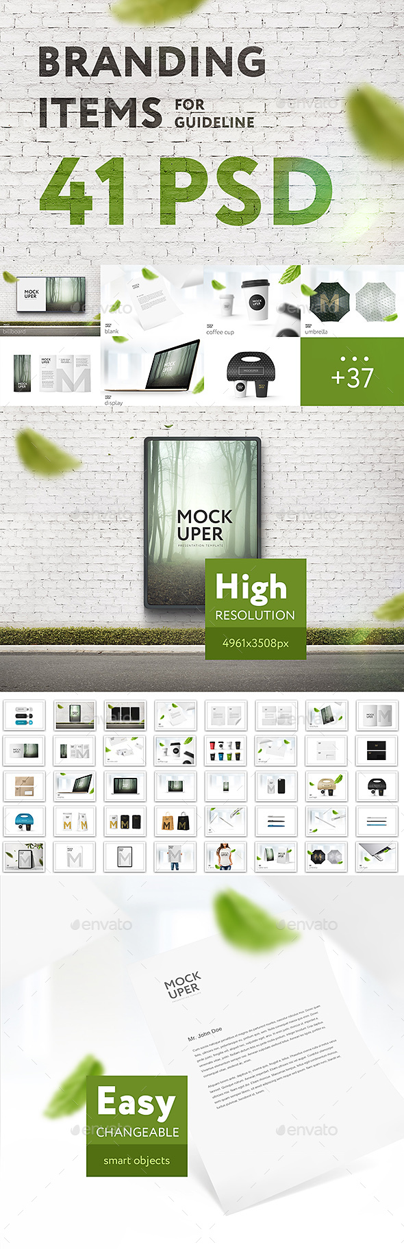Branding Items Mock-up for guidelines. 41 PSD - Product Mock-Ups Graphics