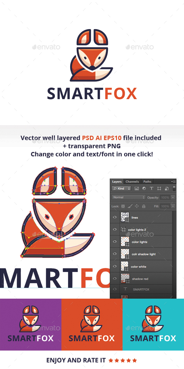 Smart Fox  - Animals Logo Templates