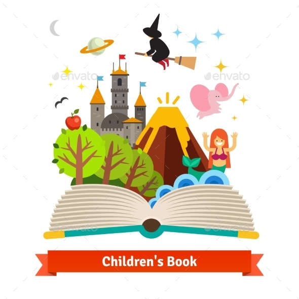 Imagination Coming To Life In Children Fairy Tail - Objects Vectors