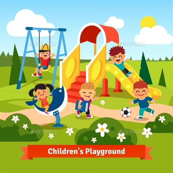 Kids Playing On Playground. Swinging And Sliding - Sports/Activity Conceptual