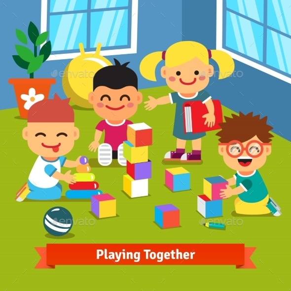 Kids Playing Together In Kindergarten Room - People Characters