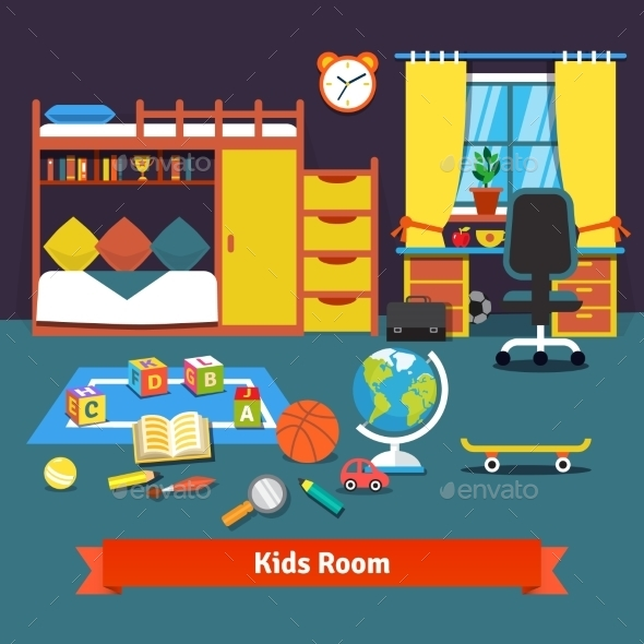 Two Kids Room With Bed, Desk, Chair And Toys - Objects Vectors