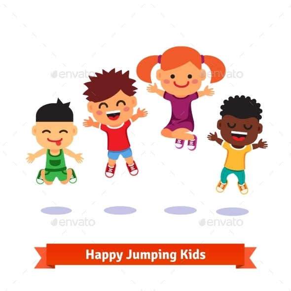 Happy And Excited Jumping Kids - Sports/Activity Conceptual