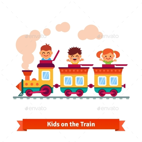 Kids, Boys And Girls Riding On a Cartoon Train - People Characters