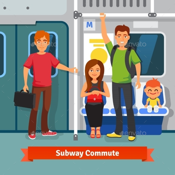 Subway Commute. People Sitting, Standing In Train  - Travel Conceptual