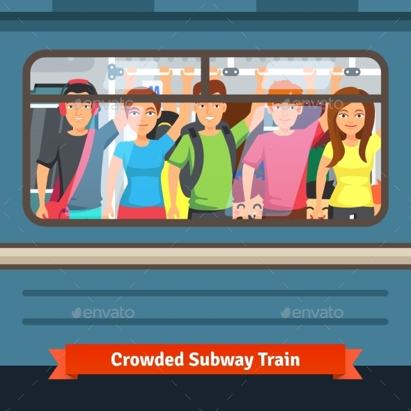 Crowded Subway Train - Travel Conceptual