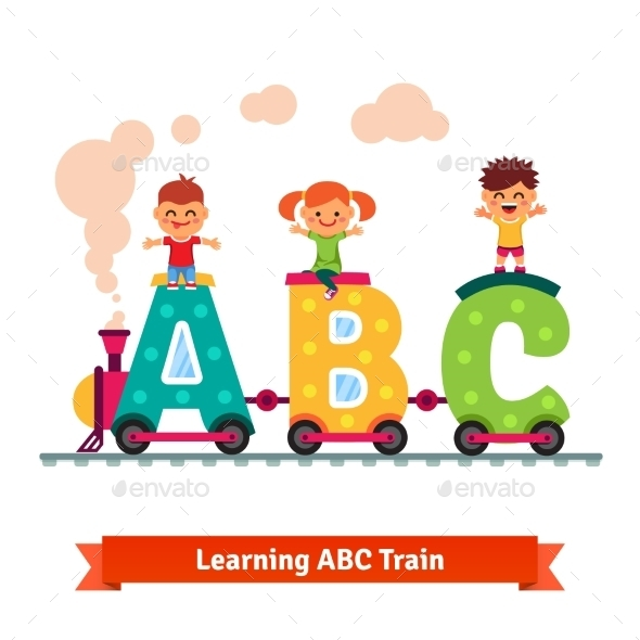 Children Learning Alphabet Concept - People Characters