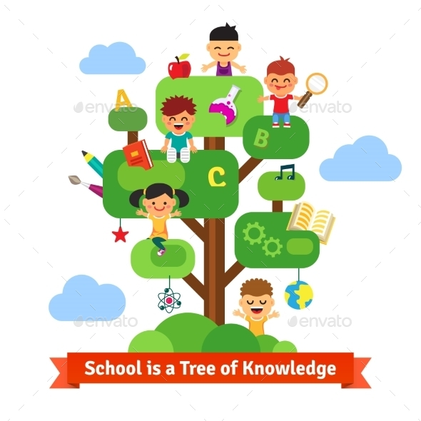 School Tree Of Knowledge And Children Education - People Characters