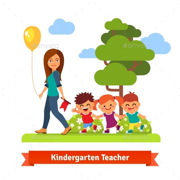 Kindergarden Teacher Walking With Kids - People Characters