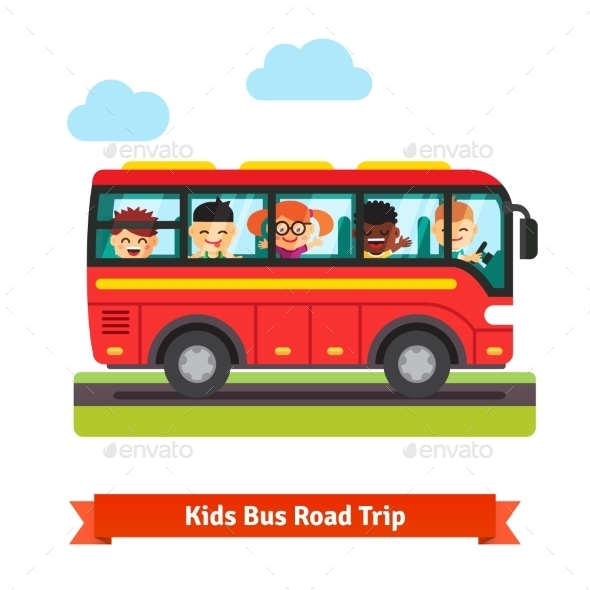 Happy Kids Travelling On The Red Bus - People Characters