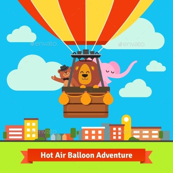 Happy Cartoon Animals Flying On Hot Air Balloon - Animals Characters