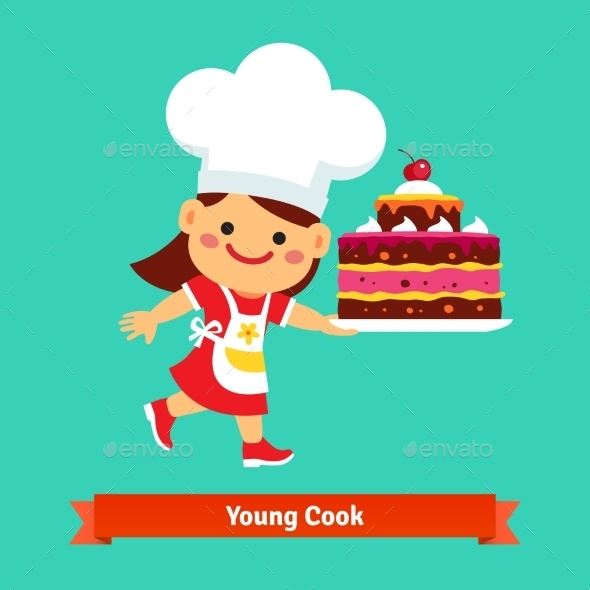Smiling Girl Cook Holding a Big Birthday Cake - Food Objects