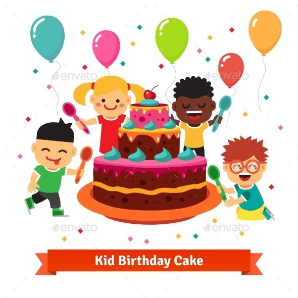 Happy Smiling Celebrating Kids With Birthday Cake - Birthdays Seasons/Holidays