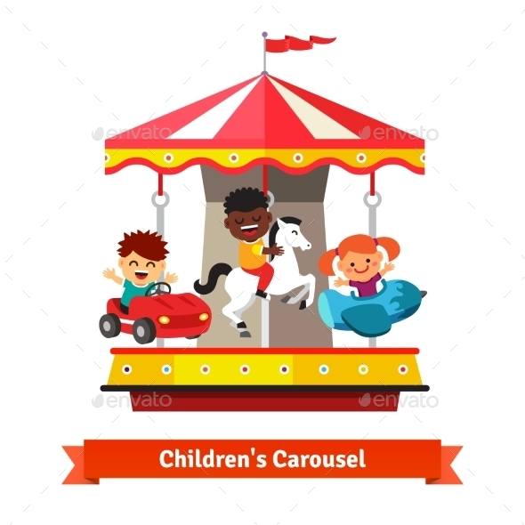 Kids Having Fun On a Carnival Carousel - People Characters