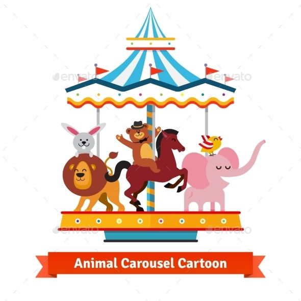 Funny Cartoon Animals Riding On Carnival Carousel - Animals Characters