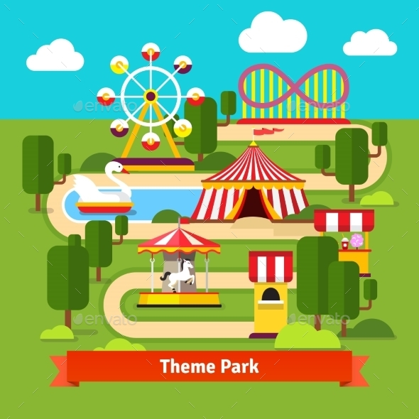 Amusement Park Map, Ferris Wheel, Roller Coaster - Conceptual Vectors