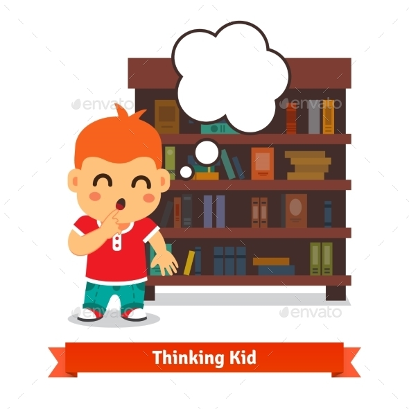 Thinking Kid In Front Of Full Bookshelf - People Characters