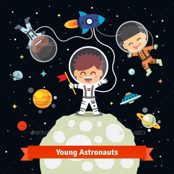 Astronaut Kids On Space International Expedition - People Characters