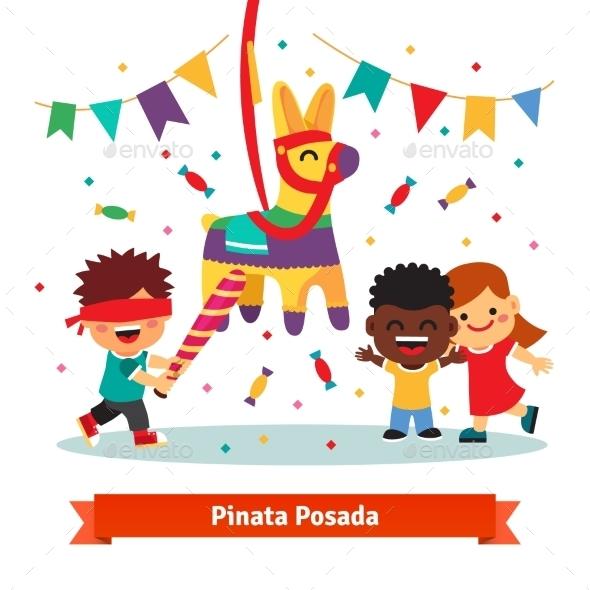 Children Celebrating Posada By Breaking Pinata - Miscellaneous Seasons/Holidays