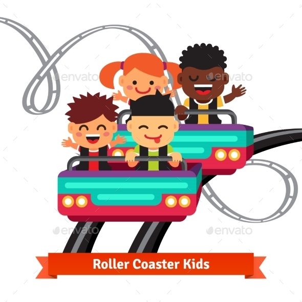 Group Of Smiling Kids Riding Roller Coaster - People Characters