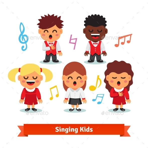 Choir Of Kids Singing. Boys And Girls - People Characters