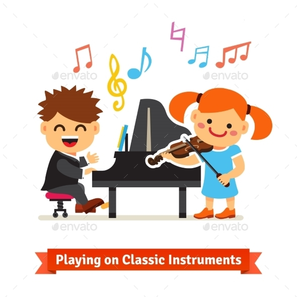 Boy And Girl Playing Music On Piano, Violin - People Characters