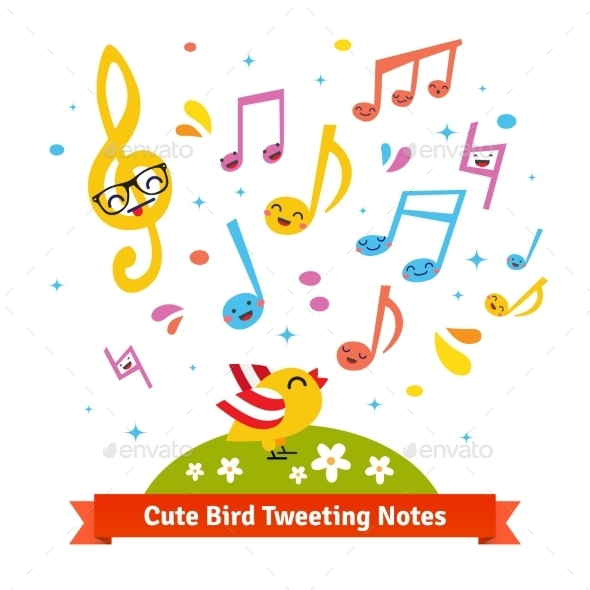 Bird Tweeting And Singing Cartoon Musical Notes - Animals Characters