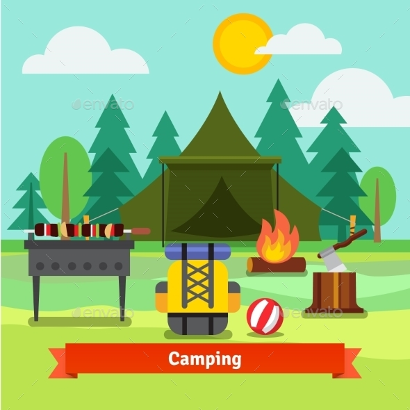 Camping In The Forest With Tent - Travel Conceptual