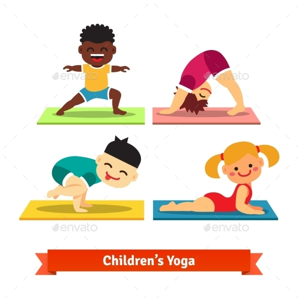 Kids Doing Yoga Poses on Colorful Mats - Sports/Activity Conceptual
