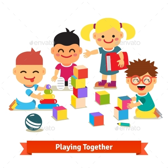 Kids Playing With Toys In Kindergarten Room - Sports/Activity Conceptual