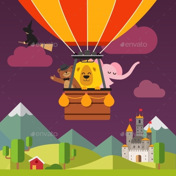 Happy Cartoon Animals Flying on Hot Air Balloon - Animals Characters