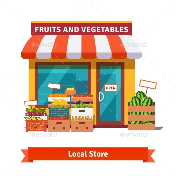 Local Fruit and Vegetables Store Building - Concepts Business